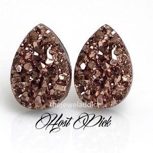 Jewelry - 3 for 15🎀 rose gold Druzy style teardrop studs